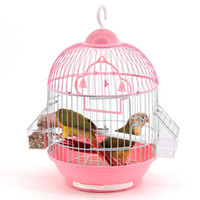 Wholesale Metal Bird Cages Decorative - Small Bird Cage Round Pet Parrot Finch Hanging Birdcage Decorative Bird Cages Weddings Hamster Accessories Bird Nest JJ0483