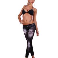algodão spandex verão mulheres calças venda por atacado-Atacado-Womens 2015 Primavera Verão Nova Moda de Alta Qualidade Tecido de Algodão falso Rasgado Calça Jeans Leggings Calças Leggings Gothic Wash Para As Mulheres