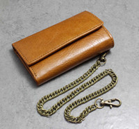 Wholesale Brown Leather Bikers Wallet - Genuine Vintage Brown Leather Key case Wallet With A chain Mens Biker