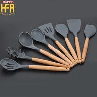 Wholesale Spatulas Wood - Silicon Spatula Kitchen Tools Kitchen Utensils Nonstick Spatula Spoon Eco-Friendly Cooking Kit Shovel Wood Handle 8Pcs Kitchenware Set