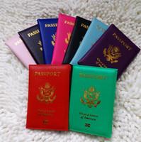 ingrosso caso di copertura id-Vendite calde Custodie passaporto americano Portafogli Porta tessere Custodia Cover ID Custodia Protector PU Leather Travel 9 Colori copertina passaporto 4646