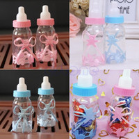Wholesale Christening Favours - Wholesale- 12PCS Baby Candy Box Bottle Baby Shower Baptism Party Favours Christening Gift