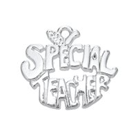 special teacher - Top Selling Metal Rhodium Plated Letter Special Teacher Charms For Teachers Day Gift Jewelry