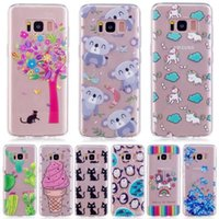 Flower Soft TPU IMD Case pour Galaxy S8 Plus S7 Edge Heart Cartoon Cheval Souris Panda Ice Cream Penguin Clear Cover Love Donuts