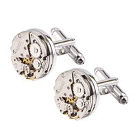 Wholesale Tie Watch - 1 Pair Worldwide Fashion Stylish Men Steampunk Gear Watch Cufflinks Stainless Steel Suits Wedding drop shipping wholesale