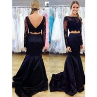Два Pieces Пром платья 2018 Bateau с длинным рукавом Backless Sweep Train атласная и кружева Sexy Mermaid Evening Dresses 2017 Custom Made