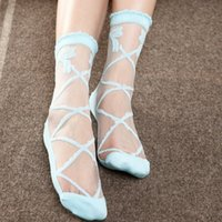 Wholesale Girls Transparent Socks - Wholesale-2016 Summer Bowknot Sheer Mesh Bow Knit Frill Trim Transparent Crystal Lace Ankle Socks for Charming Lady Girl