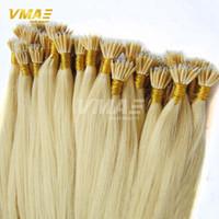Wholesale Cheap Keratin - Cheap Russian Virgin Nano Tip Ring Hair Extensions Straight Hair Keratin Hair Extensions #1B,#2,#4,#8,Grey,#27,#613 In Stock