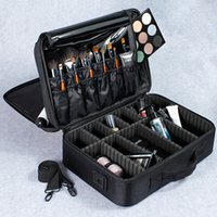 Wholesale large aluminum makeup case - Wholesale- Female High Quality Professional Makeup Organizer Bolso Mujer Good Cosmetic Bag Large Capacity Storage case Multilayer Suitcases
