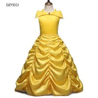 Wholesale Yellow Princess Dress Costume - Beauty And The Beast For Girl Dresses Christmas Costume Child Belle Dress Kid Pageant Bridesmaid Gown Party Princess Frock