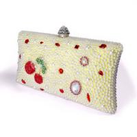 Wholesale Cheap Flower Handbag Purse - 2017 Wholesale Socialite Fashion Cover Style Handbag Manual White Pearl Clutch Women Handbag Evening Bags Cheap Crystal Wedding Party Purse