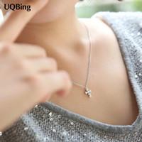 Wholesale Titanium Collars - Drop Shipping 925 Silver Chain Necklaces Rhinestone Cross Pendants&Necklaces Jewelry Collar Colar de Plata hot sell