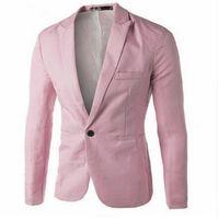 one button fitted blazer toptan satış-Erkek Giyim Blazer Erkekler Bir Düğme Erkek Blazer Slim Fit Kostüm Homme Takım Elbise Ceket Eril Blazer Boyutu M-3XL
