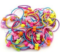 Barato Laços Elásticos De Alta Qualidade-150 Pcs High Quality Cartoon Headbands Round Ball Kids Elastic Hair Bands Elastic Hair Tie Children Rubber Hair Band
