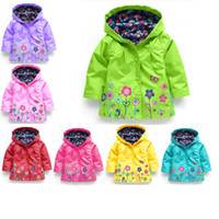 Wholesale Girls Jackets Coats Summer - 7 Color Girls flower Raincoat Kids Fashion Baby Girls Clothes Winter Coat Flower Raincoat Jacket For Windproof Outwear Free DHL