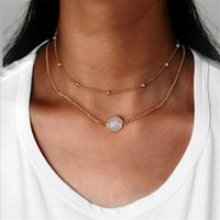 Wholesale Wholesale Chunky Necklaces For Women - Chokers Necklaces Multilayer Gold Chunky Statement Chain Round Resin Charm Choker Collar Necklace Jewelry For Women 4 Colors Bib Jewelry HZ