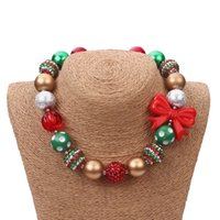 Wholesale Circle Bubble Necklace - Christmas Necklace Green Beads Red Bow Princess Chunky Necklace kids girls bubble bead necklace for DIY jewelry