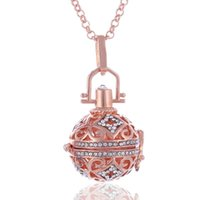 Wholesale Hollow Silicone Necklace - Gold Plated Copper Aromatherapy Perfume Essential Oil Diffuser Necklaces Christmas Hot Crystal Hollow Out Cage Pendants Necklace