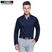 Wholesale Shirt Camicie - Wholesale- Top Sale Italian 7 Camicie Style Double Collar Dress Fashion Slim fit Long Sleeve Premium Cotton Shirting Men's Shirt Brand VSD
