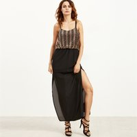 Wholesale Sexy Going Out Dresses - Ladies Maxi Party Dress Strappy Sequins Top Formal Evening Gowns Dress Sexy Women Split Occasion Dresses Going Out Outfits ZSJG0530