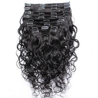 hintli insan saç tokası uzantıları toptan satış-Islak Ve Dalgalı Klip Hint İnsan Saç Uzantıları Ucuz Tam Kafa Klip Saç Uzantıları Su Dalga 10 adet / takım 120 g / takım Ücretsiz Kargo