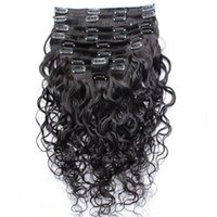 Wholesale cheap clip extensions - Wet And Wavy Clip Indian Human Hair Extensions Cheap Full Head Clip In Hair Extensions Water Wave 10pcs set 120g set Free Shipping