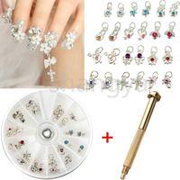 Wholesale Hand Decor - Free shipping Nail Art Charm Piercing Hand Drill Hole Pierce Tool + 24 Pendants Dangle Decor Nail Art Salon Decorations