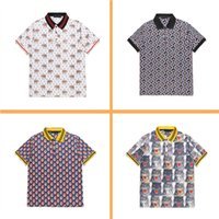 Wholesale Hand Painted Elephant - 2017 Fashion Men Polos shirts Elephant tiger head letter Bee Floral print shirt short sleeve solid cotton polo t shirt Harajuku Casual polo
