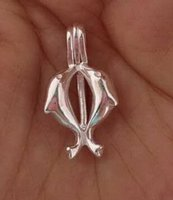 925 Silver Wish Bead Pendant Locket / Peut ouvrir Double Dolphin Cage