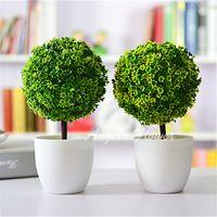 Wholesale Dried Decorative Plants - Artificial plants ball bonsai can washes decorative green plants for home decoration 4 colors 1 set ( plants+vase)