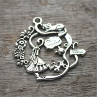 Wholesale Alice Wonderland Charm - 5pcs of Antique Tibetan silver Alice in Wonderland Wreath Charm pendants 42x41mm