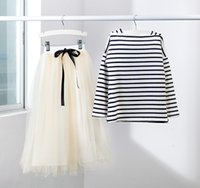 Wholesale Teenagers Skirts - Wholesale- Girls clothing set 2016 new child clothing teenager kids clothes striped full sleeved t shirt + long skirt 2 piece for age 4-12