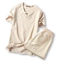 Wholesale Wholesale Men Linen Sets - Wholesale- Summer New Fashion 2016 Tracksuit Men Casual Slim Fit Suit Men Short Sleeve Masculino Tracksuit Set TZ26