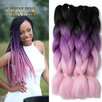 Wholesale Synthetic Extension Pink - VERVES Ombre Kanekalon Braiding Hair braid Synthetic purple pink High Temperature Fiber Kanekalon Jumbo Braid Hair Extensions