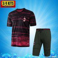 Wholesale Jersey Pant Kit - 2017 AC Milan Short Sleeve Training Suit 3 4 Pants kits Jerseys ITaly Club AC Chandal Tracksuits Uniforms Sets Survetement Football shirts