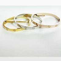 Wholesale Men Jewelry Titanium Bracelets - titanium steel love bracelets for women rose gold silver screw Nail bangle with screwdriver bracelet men Pulseira Feminina Masculina jewelry