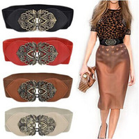 Wholesale Wide Vintage Leather Belt - Wholesale- Top Sale New Fashion Women Girl Vintage Wide Elastic Stretch Straps Thin Skinny Waist Belt Alloy Buckle Waistband Wholesale#5