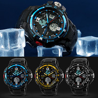 Double Time Mens Pas Cher-Wholesale- Hommes Sport Waterproof Hours Montres Designer Digital Analog Dual Time Alarm Date Chronographe Montre bracelet