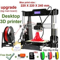 Wholesale New Upgrade desktop D Printer Prusa i5 Size mm Acrylic Frame LCD Kg Filament G TF Card for gift big main board