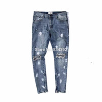 Wholesale Dotted Jeans - Wholesale- Best version 2016 Fear of God FOG zippers skinny slim fit mens Distressed justin bieber black cotton Denim jeans