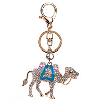 2017 Cute Camel Bells Crystal Rhinestone Keyring Key Holder Purse Bag para carro Fashion Christmas Gift Keychains For Women Jewelry Wholesale