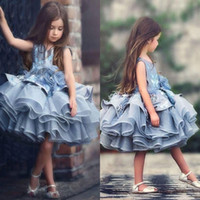 Wholesale baby girl tutu puffy dresses - Adorable Baby Kids Blue Tiered Tutu Short Pageant Dresses Princess 2017 Glitz Tulle Puffy Flowers Girl Dresses Dubai Formal Party Dress