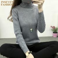 Wholesale womens black turtleneck sweater - Wholesale-Winter Autumn Turtleneck Womens Sweaters Casual Long Sleeve Female Pullovers Tops Color Gray Black White Purple Pink Khaki DY5