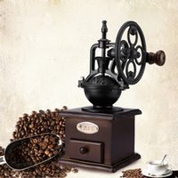 Wholesale Manual Coffee Grinder Wheel Design Vintage Traditional With Ceramic Movement Retro Wooden Coffee Mill For Home Restaurent USE AND Decoration