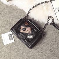 Wholesale Quilted Tote Handbag - 2017 Fashion Woman small Bags Ladies Luxury Handbag Women rivet Chain Shoulder Bag Quilted Black Bolsas Femininas