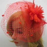 Wholesale Wedding Veil Wreath - New fashion Wedding Bridal Hair gauze veil Feather headdress Wreath Headdress Hair Accessories 2017 For Women Pageant Prom Tourism Vacation