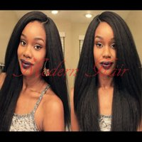 Wholesale Kinky Straight Full Lace 22 - Full Lace Wigs 7A Grade Peruvian Hair Yaki Kinky Straight Synthetic Lace Front wig heat resistant Fiber Hair For Black Women