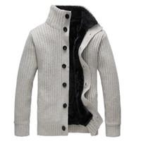 hoodies sweatshirts grossas venda por atacado-Homens inverno Camisola Gola De Lã Casaco Grosso Cardigan Malhas Blusas de Lã Quente Moletom Com Capuz camisola Casuais COAT