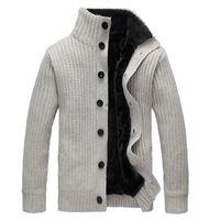 sudaderas de invierno de lana al por mayor-Invierno de los hombres suéter de cuello alto abrigo de lana grueso Cardigan prendas de punto suéteres Warm Fleece sudadera con capucha abrigo informal