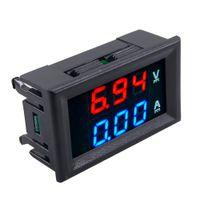 mavi led dijital voltmetre dc toptan satış-Yeni DC 100 V 10A Voltmetre Ampermetre Mavi + Kırmızı LED Dijital Volt Metre Ölçer